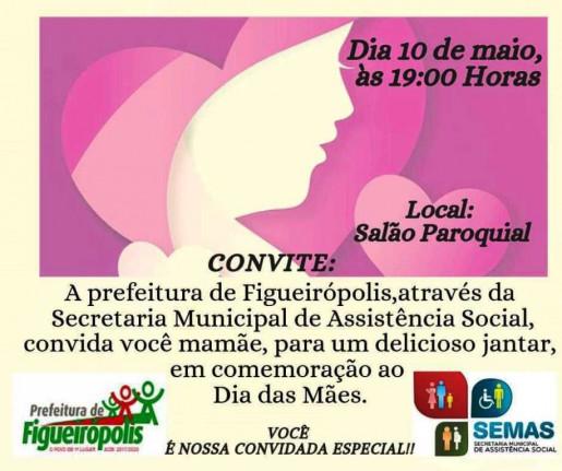 Prefeitura de Figueirópolis- Jantar em  Homenagem ao dia das Mães!!